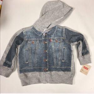 Levi's cotton hoodie with denim jacket print NWT